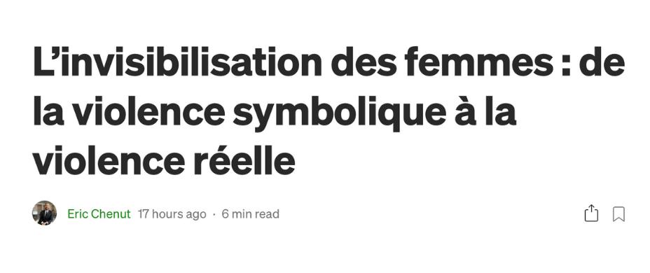 L'invisibilisation des femmes : de la violence symbolique à la violence réelle – Une tribune d'Eric Chenut, Président ADOSEN