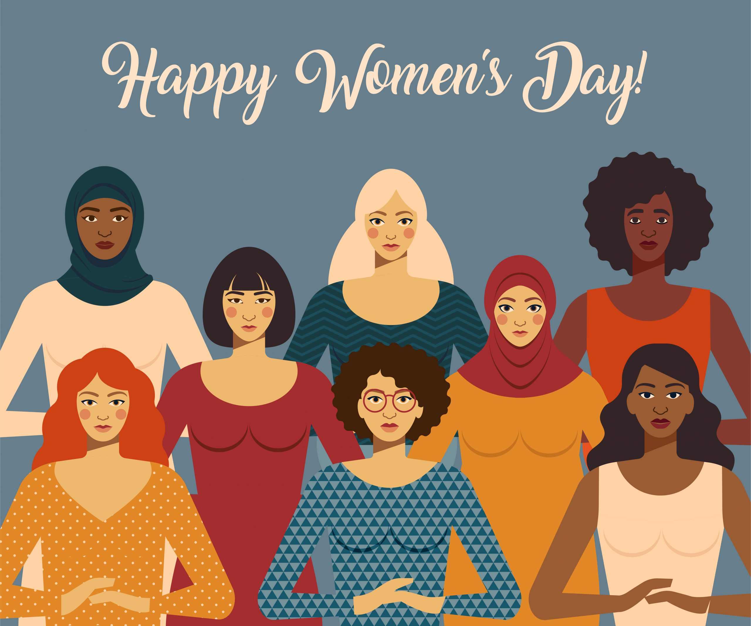 International Women s Day. Female diverse faces of different ethnicity. Vector template with for card, poster, flyer and other users.